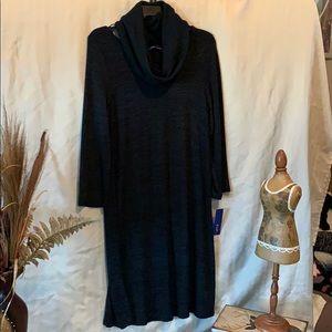 Ladies black long sleeve black dress with scarf